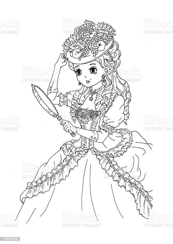 Ilustración de Página Para Colorear De La Dama Con Sombrero y más ...