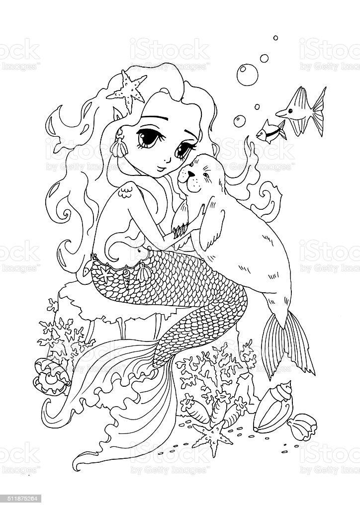 Ilustración de Página Para Colorear La Sirena Y Gato De Mar y más ...