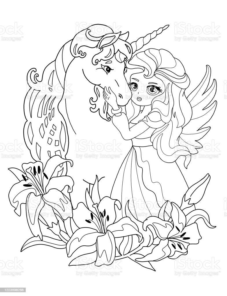 Page De Coloriage La Princesse Et La Licorne Vecteurs libres de droits et  plus d'images vectorielles de Aile d'animal