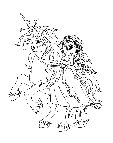 Ilustracion De Pagina Para Colorear De La Princesa Sobre El