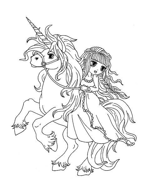 Vectores de Unicornio Para Colorear Página Para Niños y ...
