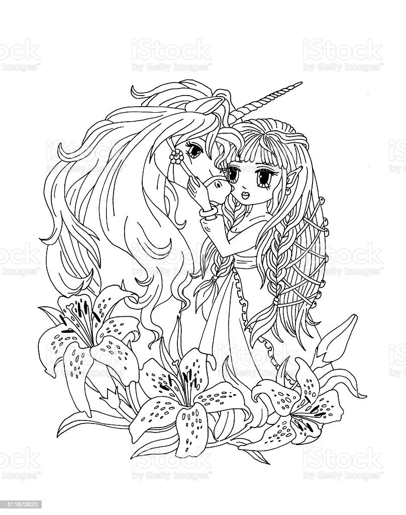 Coloring Page The Unicorn And The Princess In The Lilies