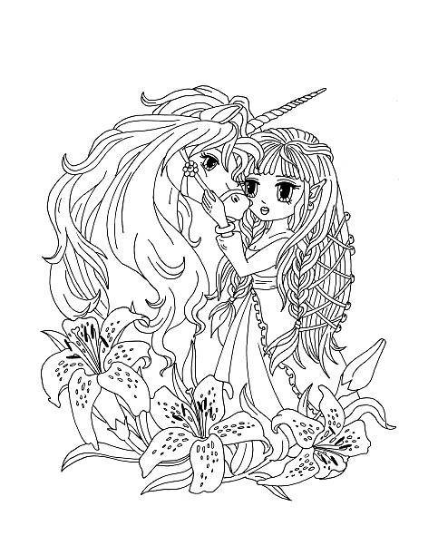 Coloring Page The Unicorn And Princess In Lilies Vector Art Illustration
