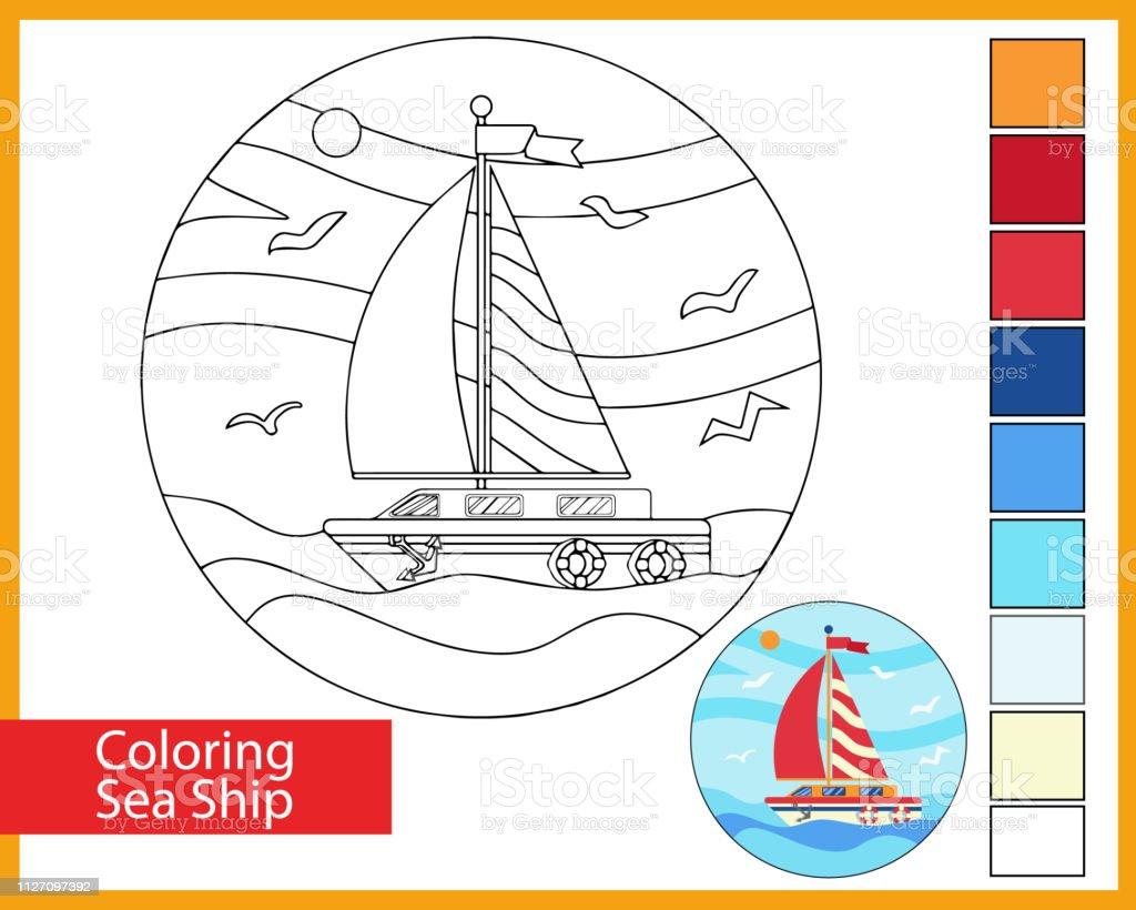 Deniz Yelkenli Gemi Boyama Cocuk Sanat Oyunu Cocuklar Icin Eglence
