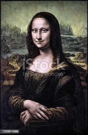 istock Colorized engraving of Leonardo's Mona Lisa (La Gioconda) 1253614385