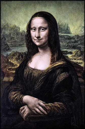 Colorized engraving of Leonardo's Mona Lisa (La Gioconda)