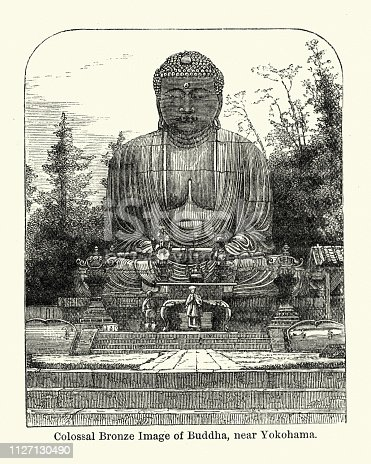 Vintage engraving of Colossal bronze statue of Buddha near Yokohama, Japan, 19th Century