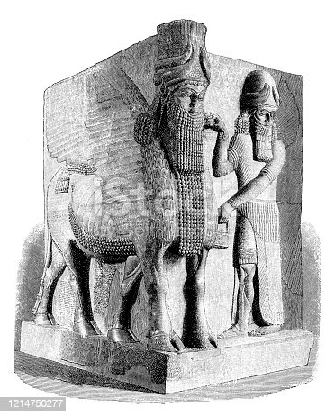 Illustration of a Colossal winged and human-headed bull with attendant human winged figure from a doorway into the palace of Sargon II, king of Assyria. These figures were believed to guard the entrance against evil influences. 722-705 B.C.