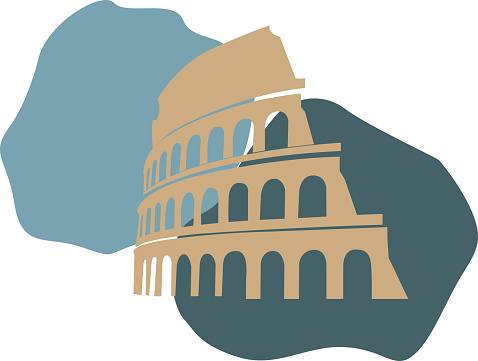 colosseum flat illustration with wite backround