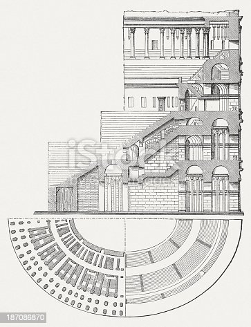 colosseum in rome italy crosssection and plan view