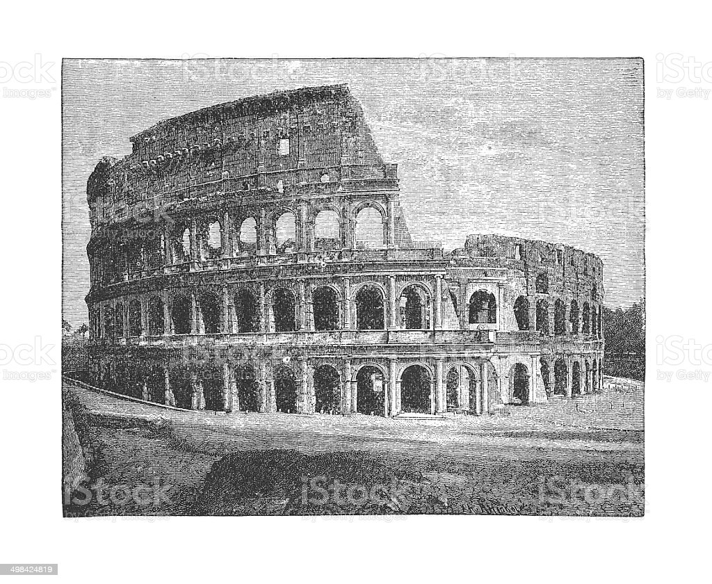 Colosseum, Rome, Italy (antique engraving) vector art illustration