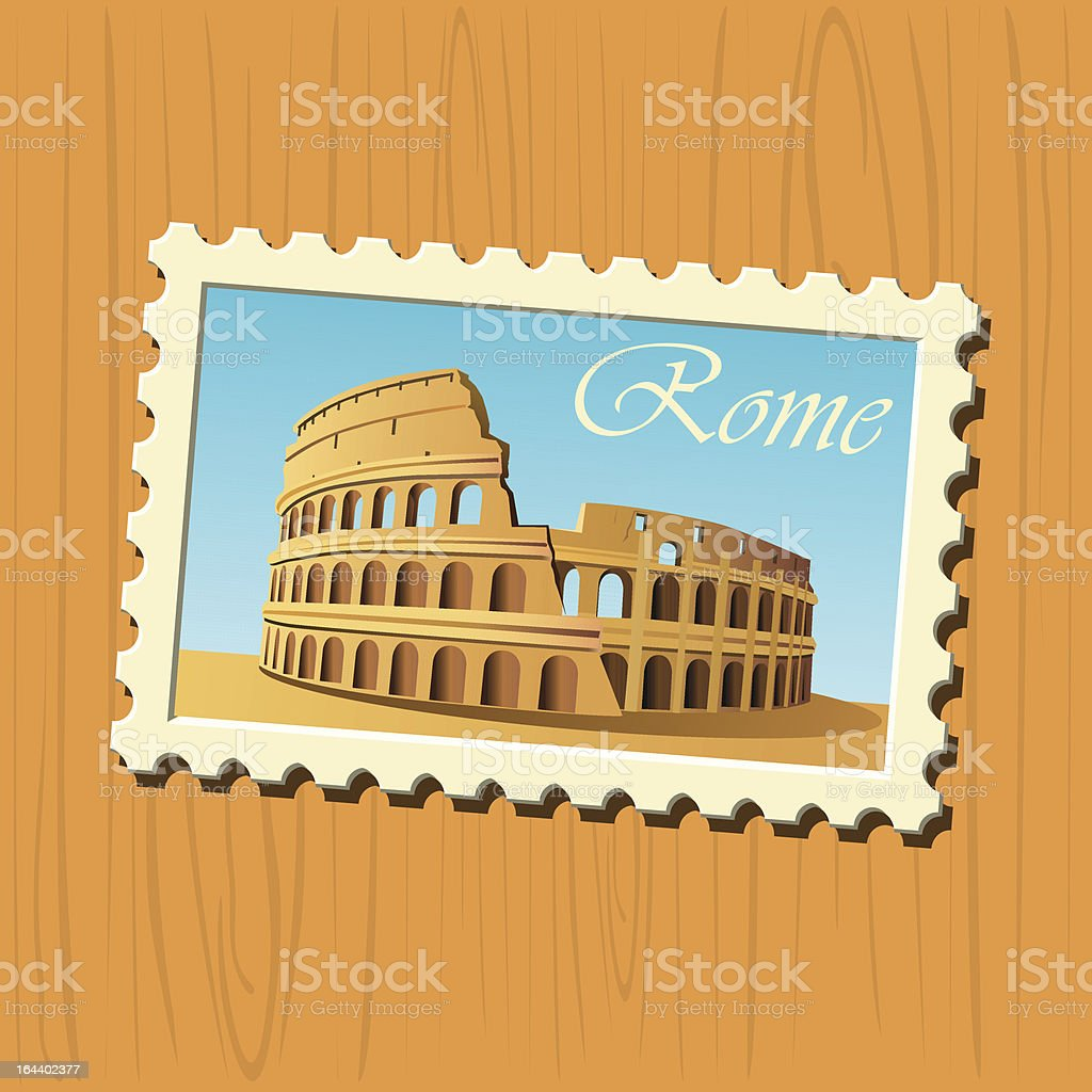 Colosseum stamp vector art illustration