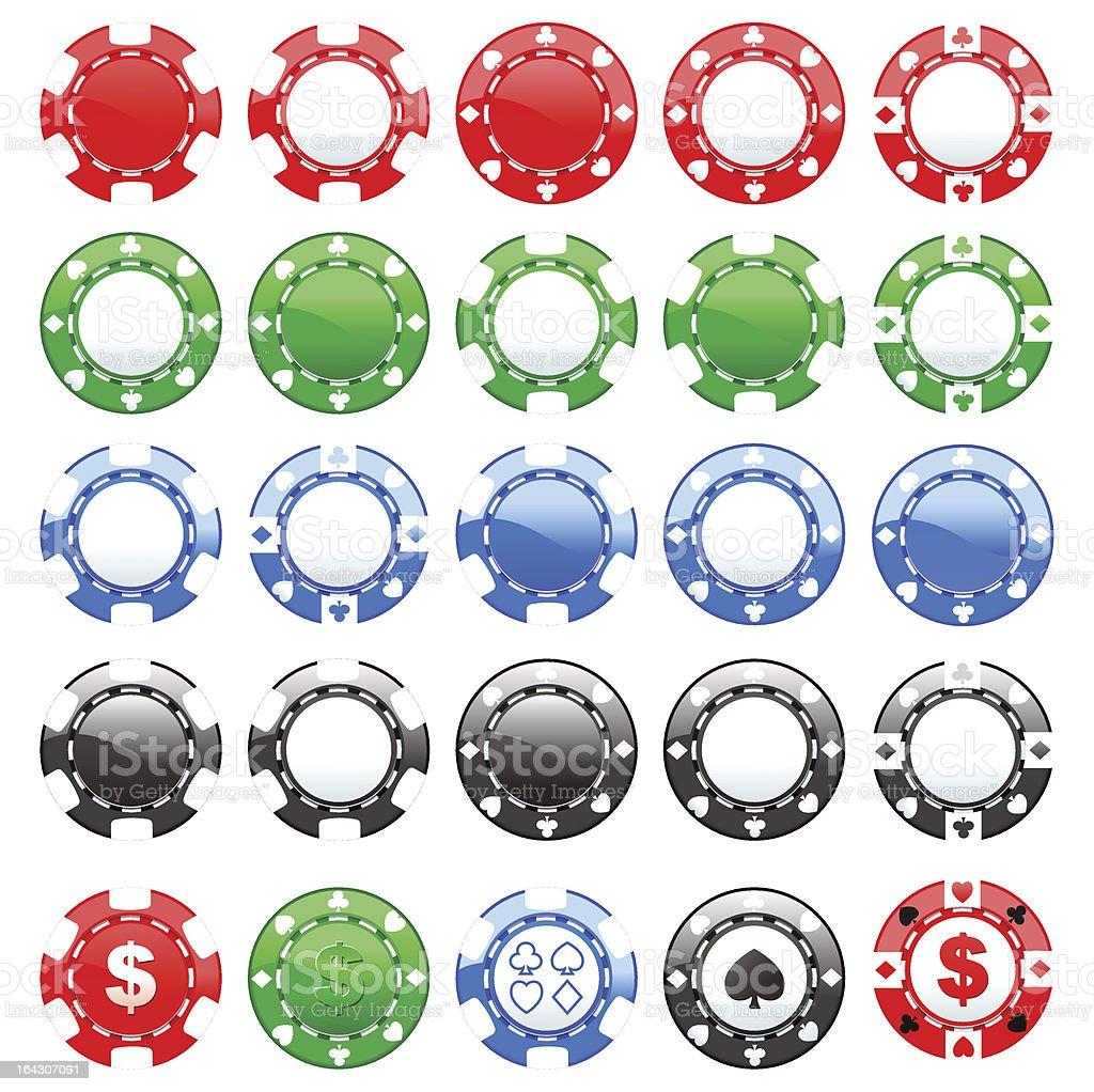 coloured chips casino vector art illustration