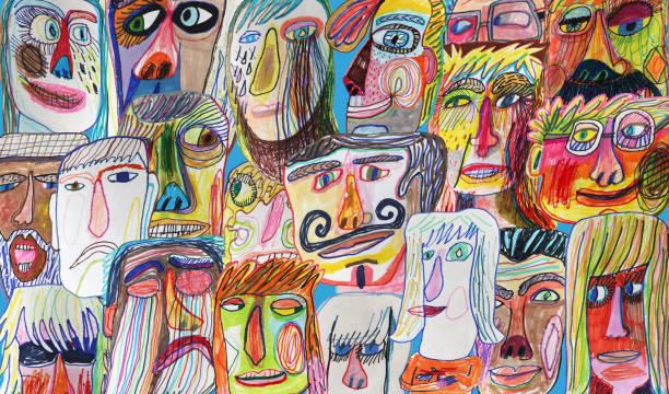 illustrations, cliparts, dessins animés et icônes de motif de fond la foule gens colorés et lumineux - art