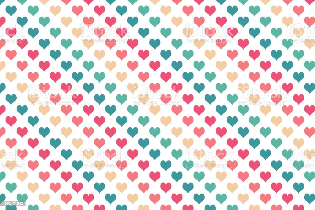 Colourful heart pattern on white background vector art illustration