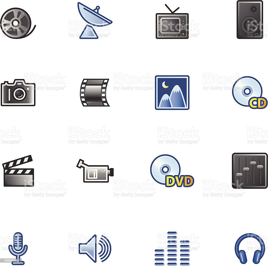 colourful media icons royalty-free stock vector art