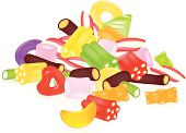 Colourful sweets isolated on the white background. Vector Illustration