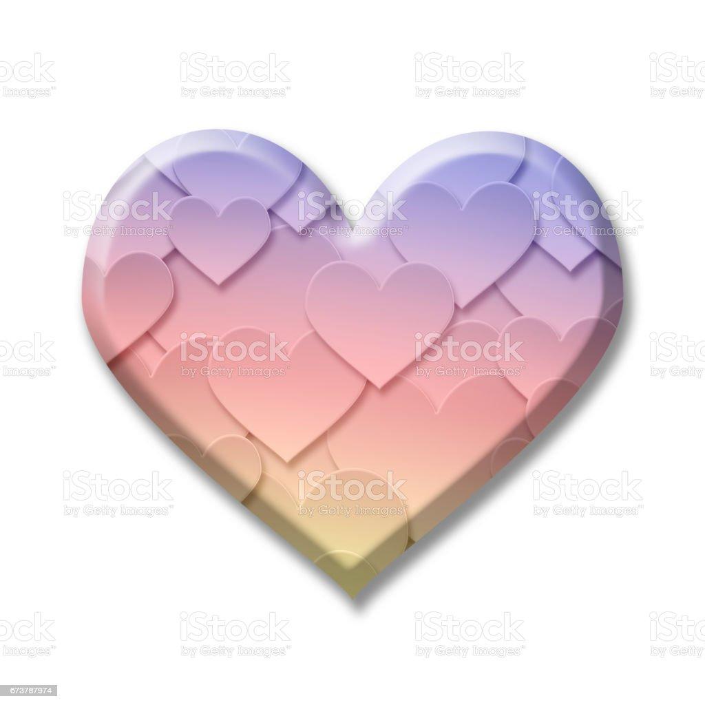 Symbole du coeur amour Saint Valentin coloré avec ombres portées sur fond blanc symbole du coeur amour saint valentin coloré avec ombres portées sur fond blanc – cliparts vectoriels et plus d'images de abstrait libre de droits