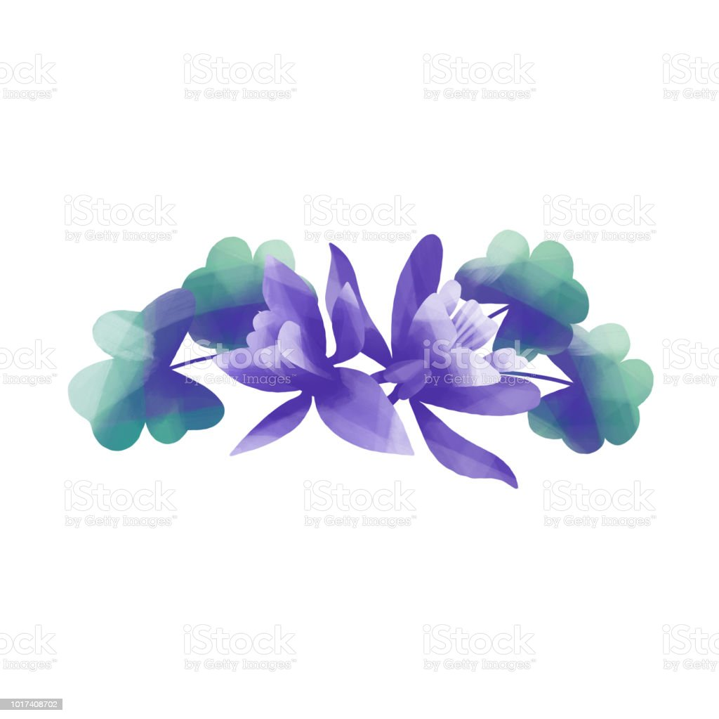Columbine Leaves And Flowers Stock Vector Art More Images Of