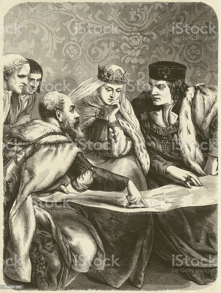 columbus before the spanish queen isabella wood engraving published