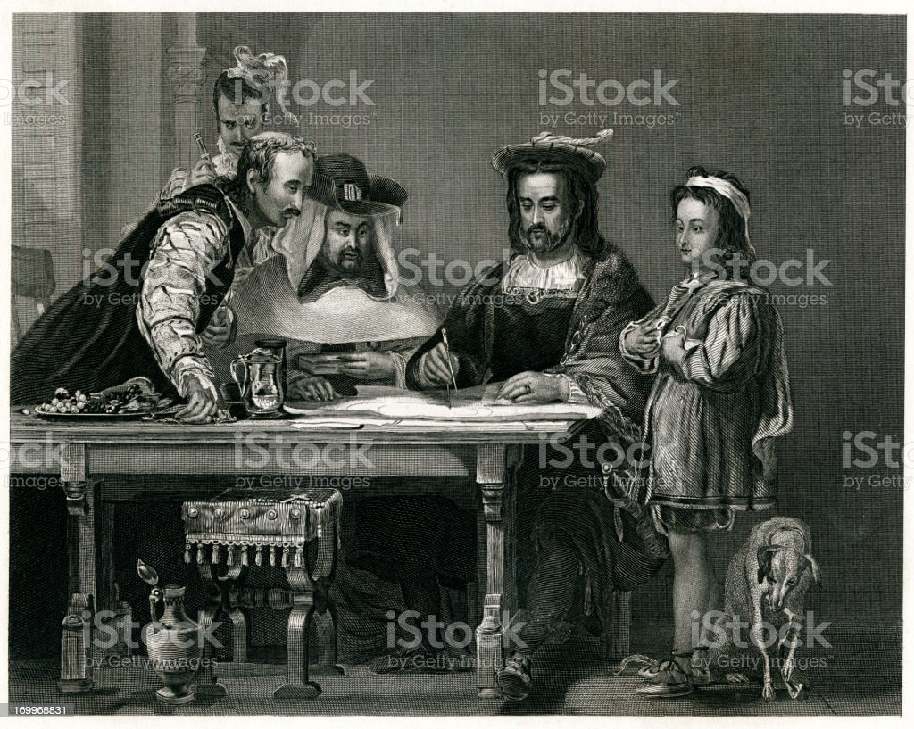 Columbus Planning The Discovery Of America royalty-free columbus planning the discovery of america stock vector art & more images of 1873