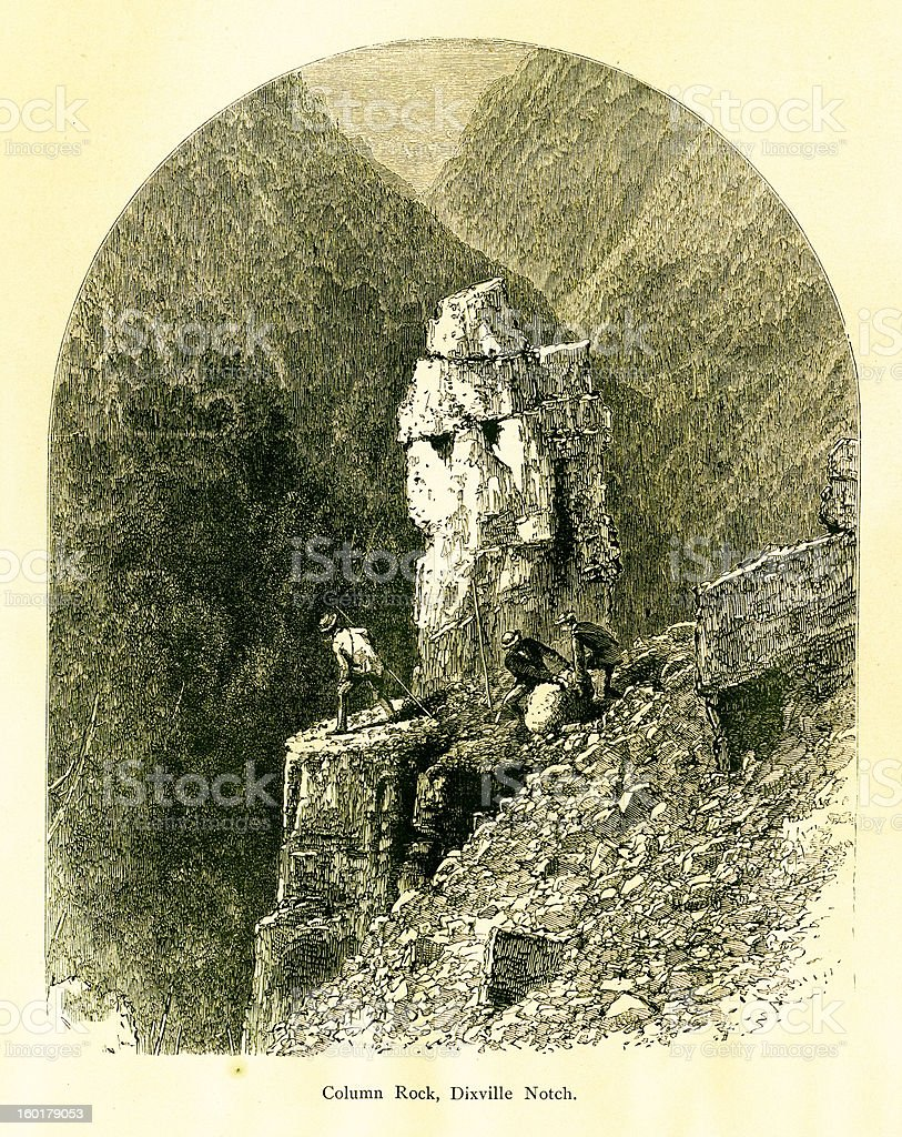 Column Rock, Dixville Notch, New Hampshire royalty-free column rock dixville notch new hampshire stock vector art & more images of 19th century