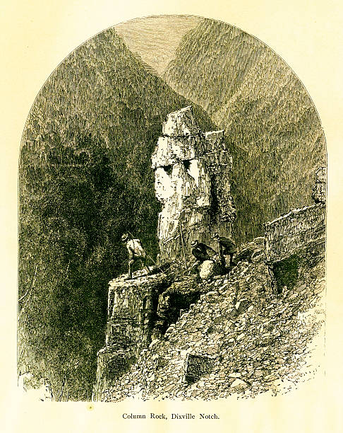 Column Rock, Dixville Notch, New Hampshire Column Rock, Dixville Notch mountain pass in the White Mountains, New Hampshire, USA. Published in Picturesque America or the Land We Live In (D. Appleton & Co., New York, 1872). conway new hampshire stock illustrations