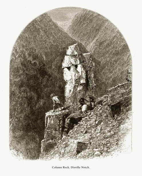 stockillustraties, clipart, cartoons en iconen met kolom rock, dixville notch, witte bergen, new hampshire, verenigde staten, amerikaanse victoriaanse gravure, 1872 - dixville notch