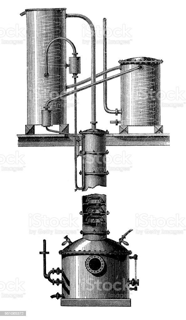 Aparatos de columnas de rectificación continua, un proceso que crea un alcohol rectificado (alcohol) - ilustración de arte vectorial