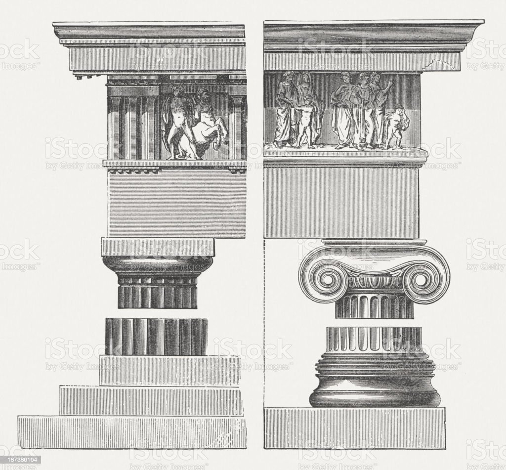 Columns, Doric and Ionic order, wood engraving, published in 1876 royalty-free stock vector art