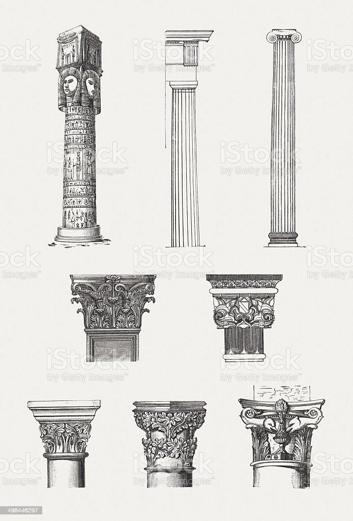Columns order: Egyptian, Doric, Ionic, Corinthian, Arabic, Romanesqe, Gothic, Renaissance vector art illustration