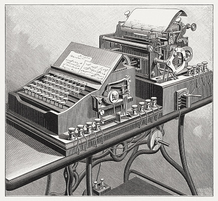 Combination of typewriter and telegraph, wood engraving, published in 1895