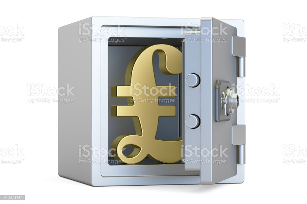 Combination Safe Box With Symbol Of Pound Sterling 3d Rendering