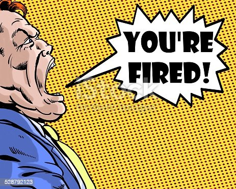 istock comic book illustrated boss yelling you're fired with orange background 528792123