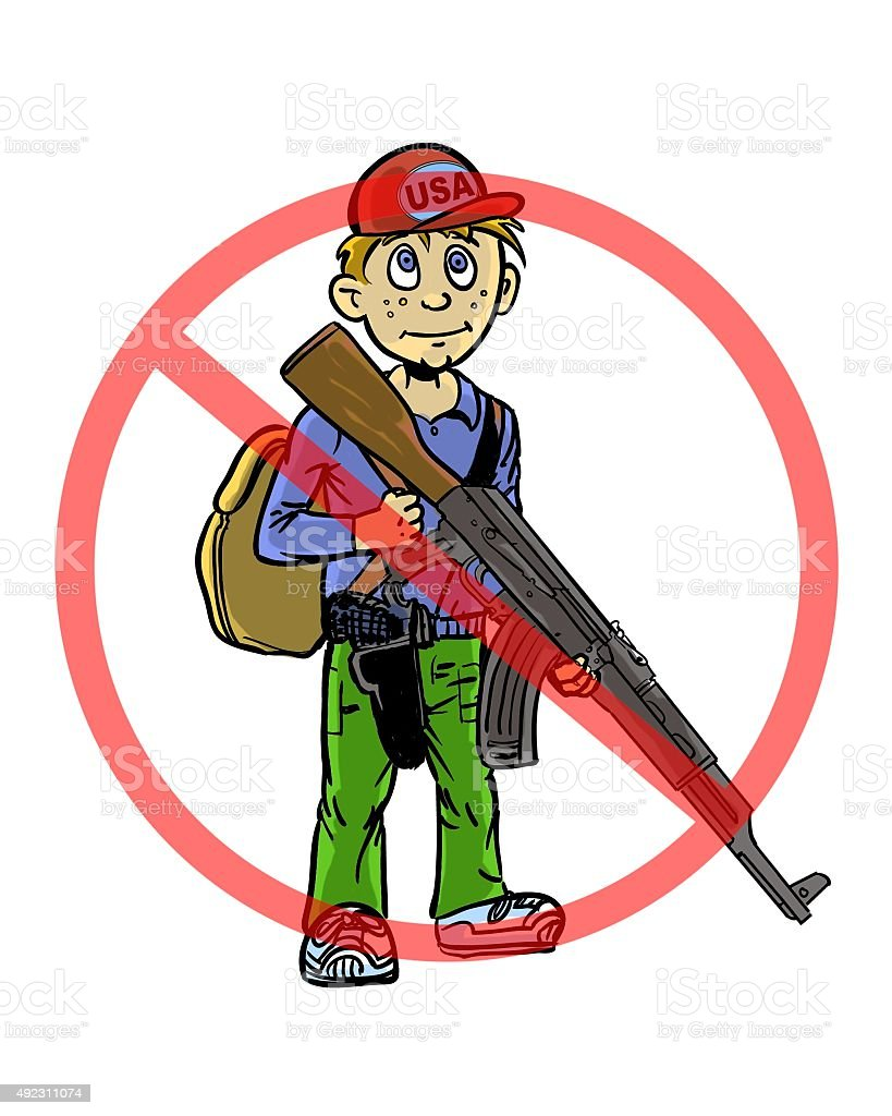 comic book illustrated boy teen armed with guns with anti-symbol vector art illustration