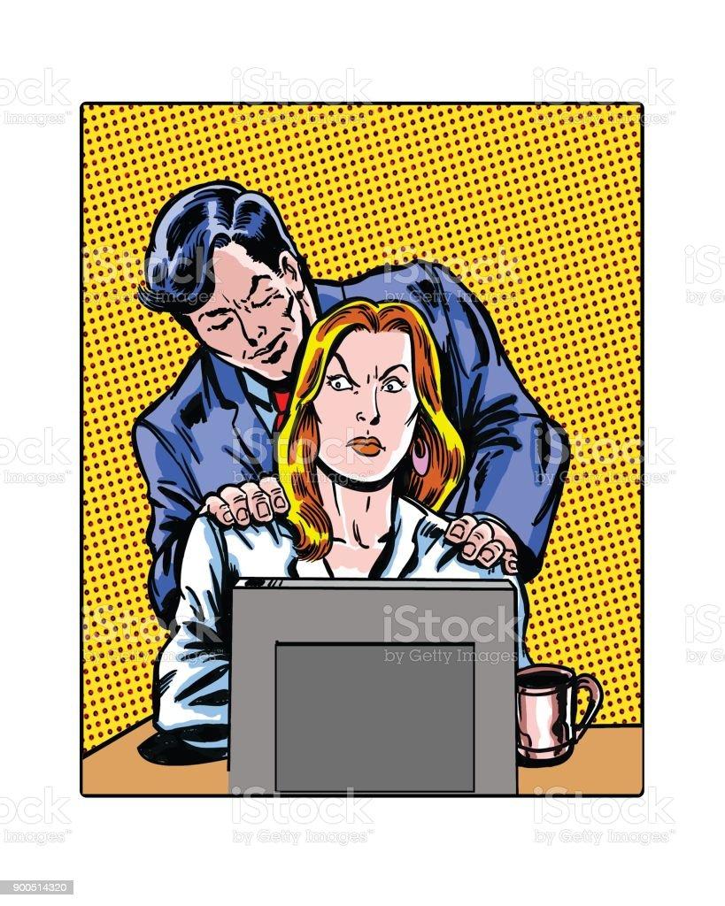 Cómic ilustrado trabajo el acoso sexual masajeando las manos - ilustración de arte vectorial