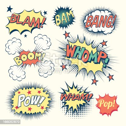 Collection of vintage comic book speech bubbles and sound effects.  Each object is grouped individually and colors are global swatches.