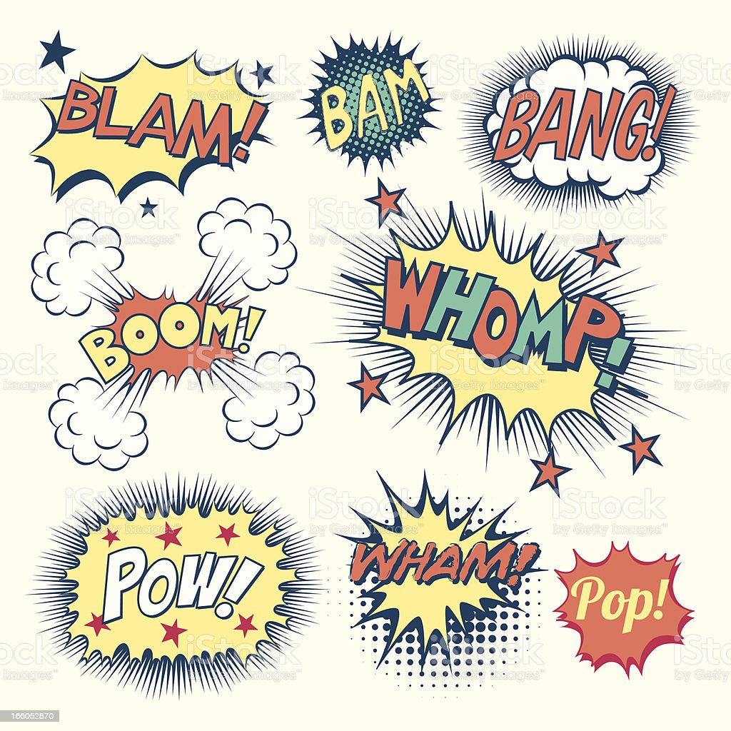 Comic Book Sound Effects vector art illustration