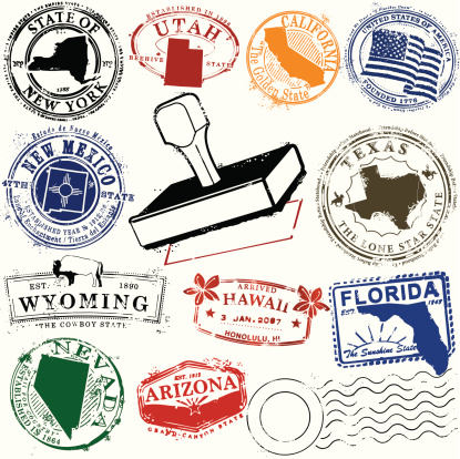 Series of stylized stamps for American states.