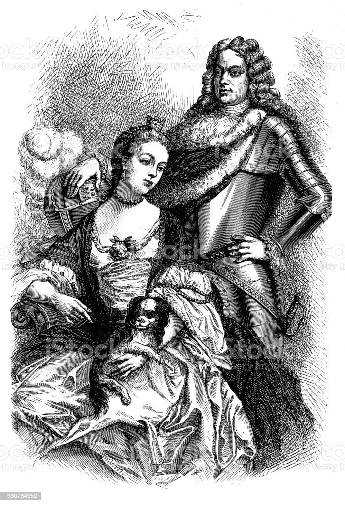 JOHN CHURCHILL (with wife Sarah) Commander in chief over the armies of England and Holland in the War of the Spanish Succession vector art illustration