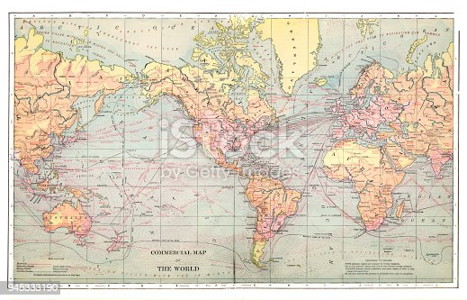 1892 Map Of The World.Commercial Map Of The World 1892 Stock Vector Art More Images Of