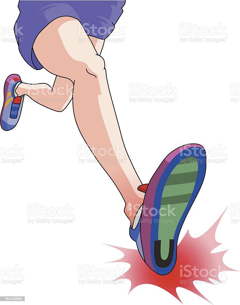 Common running injuries Heel Strike royalty-free stock vector art