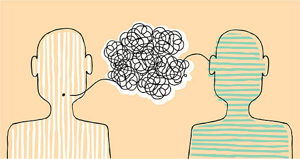 Communicating a message Communication between two people. listening stock illustrations