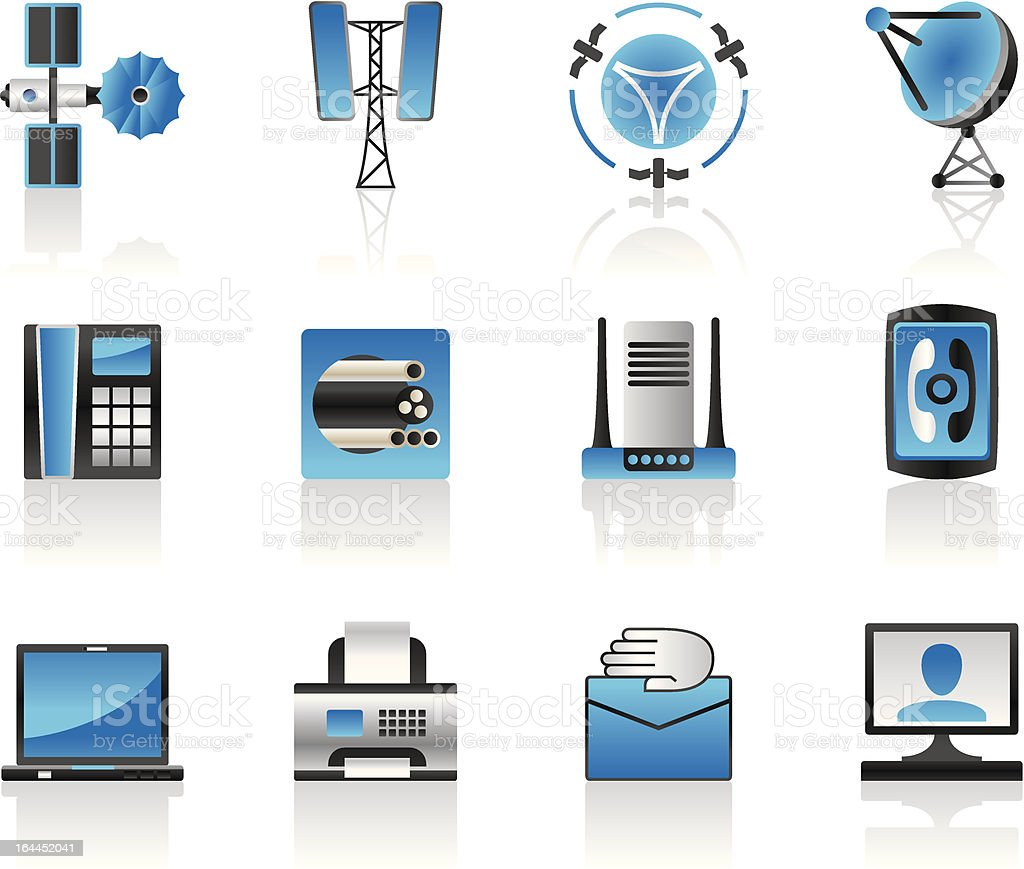Communication and media icons set royalty-free communication and media icons set stock vector art & more images of antenna - aerial