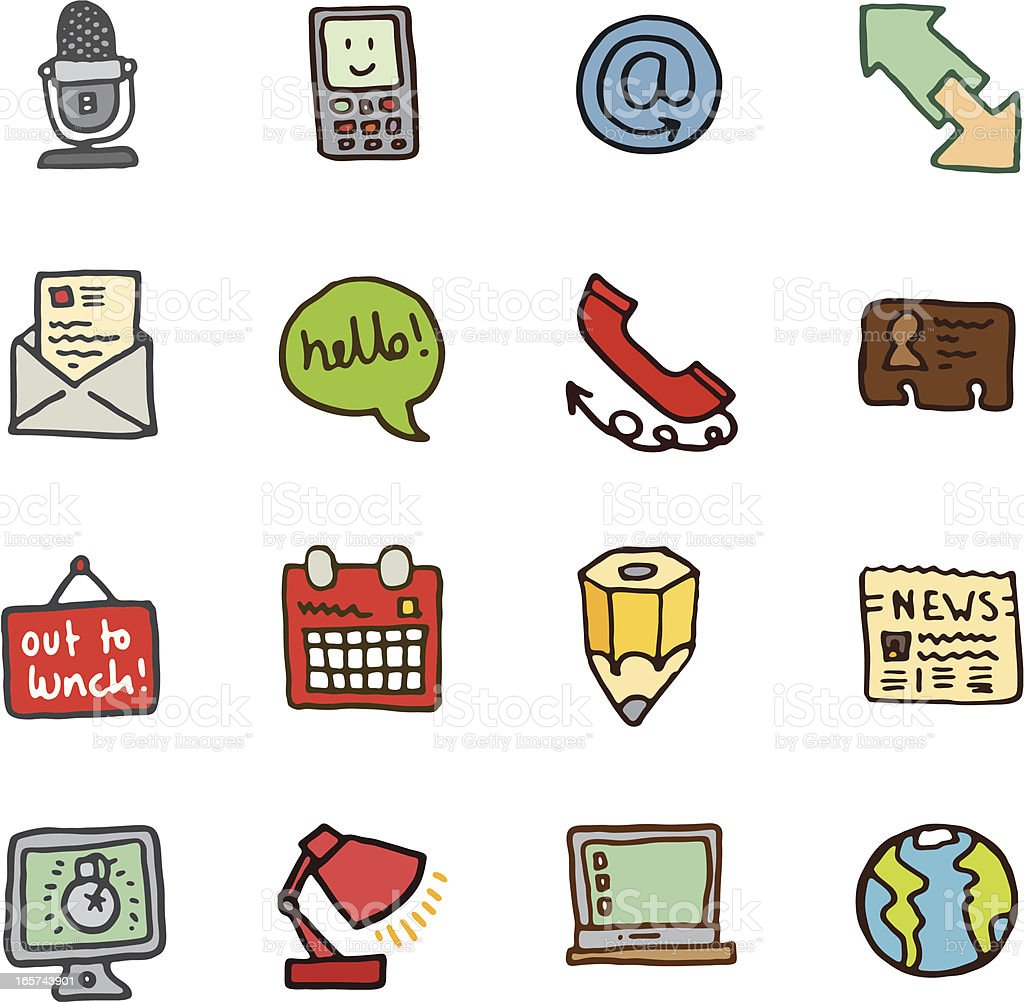 Communication doodle icons royalty-free communication doodle icons stock vector art & more images of 'at' symbol