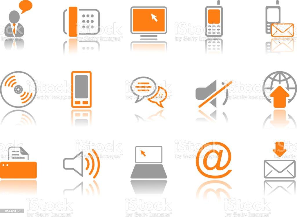 Communication icon set - orange series royalty-free stock vector art