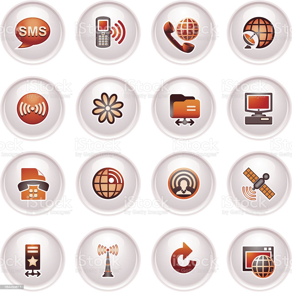 Communication icons set 2. Black red series. royalty-free stock vector art