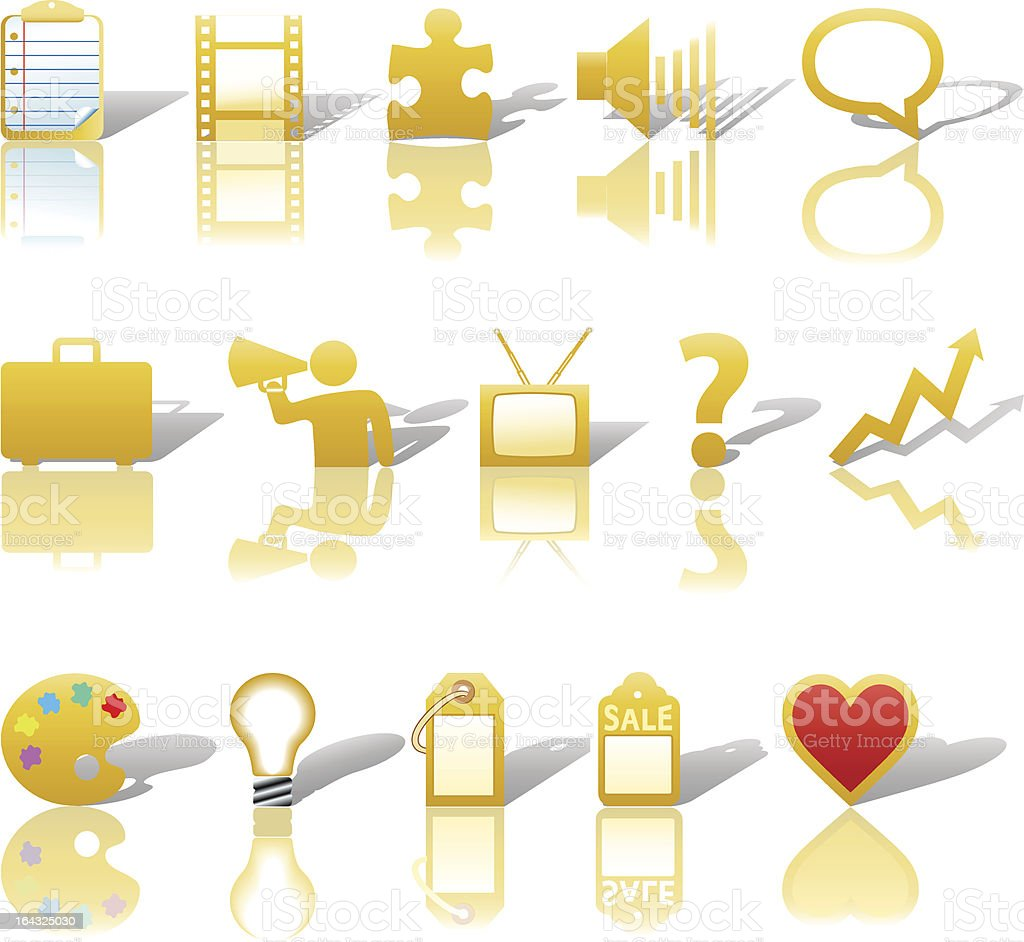 Communications Media Business Icons royalty-free stock vector art