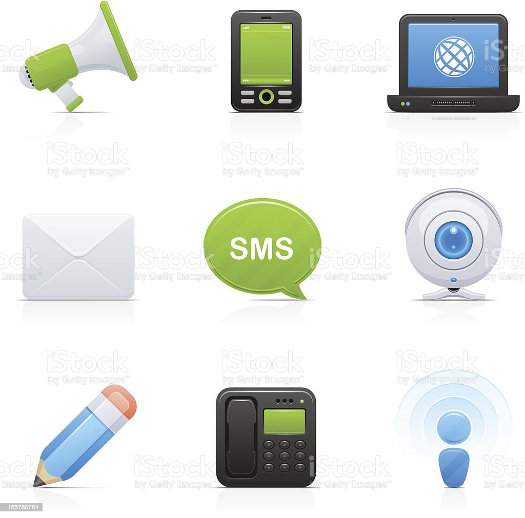 Communications | Orbi collection Set of 9 vector icons aa Communications. Blue stock vector