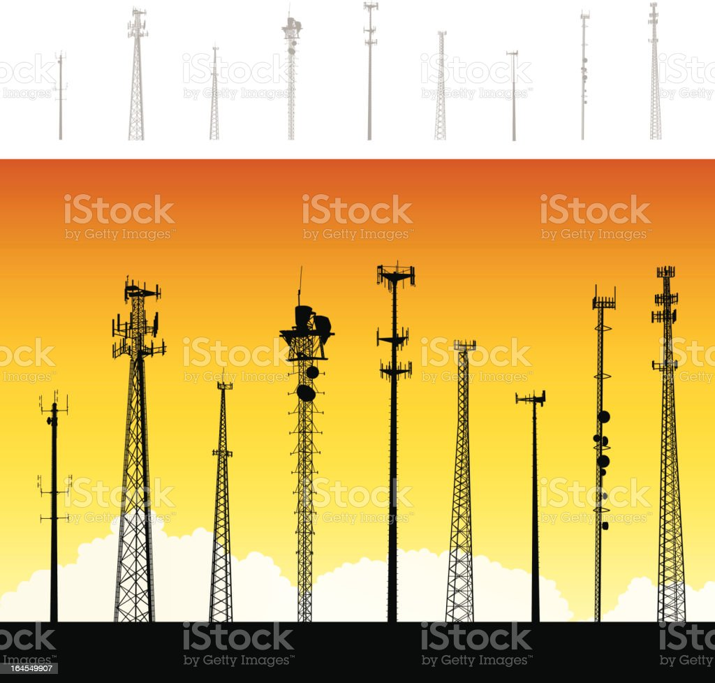 Communications Towers royalty-free stock vector art